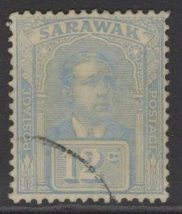 SARAWAK SG70a 1922 12c PALE DULL BLUE FINE USED