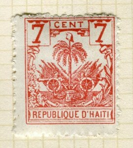 HAITI; Early 1890s Palm Tree issue Mint hinged 7c. Trial print on white paper ?