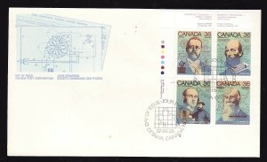 Canada-Sc#1138a -stamps on FDC-UL plate block-Science & Technology-1987-