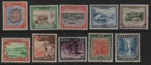 NIUE, (10) SET, 94-103, HINGED REMNANT, 1950, Map, H.M.S Resolution, Alofi land