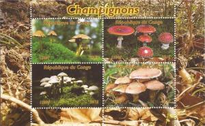 Congo - 2015 Mushrooms on Stamps - 4 Stamp Sheet - 3A-505