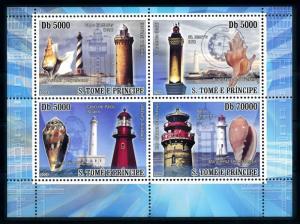 [96765] Sao Tome & Principe 2008 Marine Life Seashells Lighthouse Sheet MNH