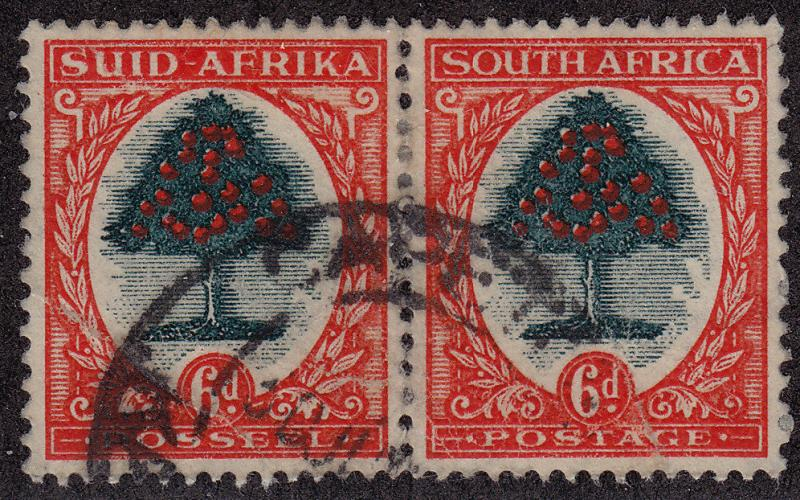 SOUTH AFRICA Used Scott # 25 Trees Perf 14.5 x 14 pair - remnants (2 Stamps) -1