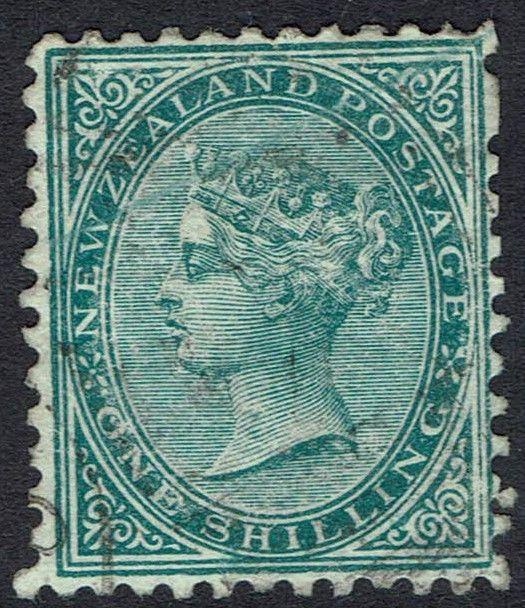NEW ZEALAND 1878 QV 1/- PERF 12 X 11.5 USED