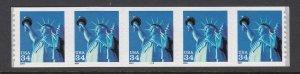 USA PNC SC# 3477 LIBERTY $0.34c PL# 3333 SMALL THIN DATE S.A.- PNC5 MNH