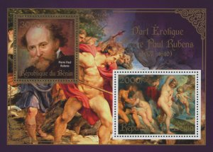 Erotic Art Paintings Pierre Paul Rubens Souvenir Sheet of 2 Stamps Mint NH