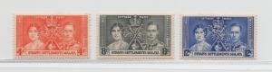 Malaya Straits Settlements - 1937 - SG 275s-77s - MNH