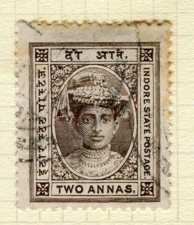 INDIA;   INDORE 1904 early Holkar III issue fine used 2a. value