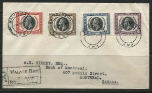 South West Africa KGV 1935 Silver Jubilee set on registered cover