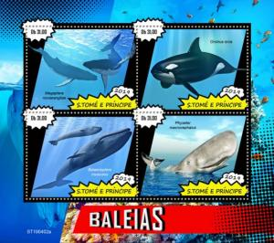 SAO TOME - 2019 - Whales - Perf 4v Sheet - MNH
