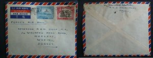 1952 Aden Forces Air Mail to GB 1A 3A overprints 5 / 20 cents Fm WG CDR