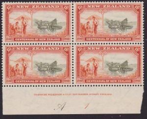 NEW ZEALAND 1940 Centenary 9d plate block fine mint CP cat NZ$220...........2797