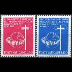 VATICAN 1967 - Scott# 453-4 Catholic Laymen Set of 2 LH