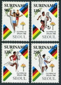 Surinam 812-815,814a,MNH.Mi 1264-1267,Bl.47. Olympics Seoul-1988.Relay,Soccer,