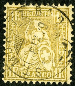 Switzerland Stamps # 68 Used VF Town cancel Scott Value $1,100.00