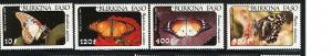 BURKINA FASO 1984 BUTTERFLIES #C305-C308 MNH