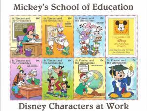 St. Vincent & Grenadines 1996 - Disney Characters at Work Souvenir Sheet 6 MNH