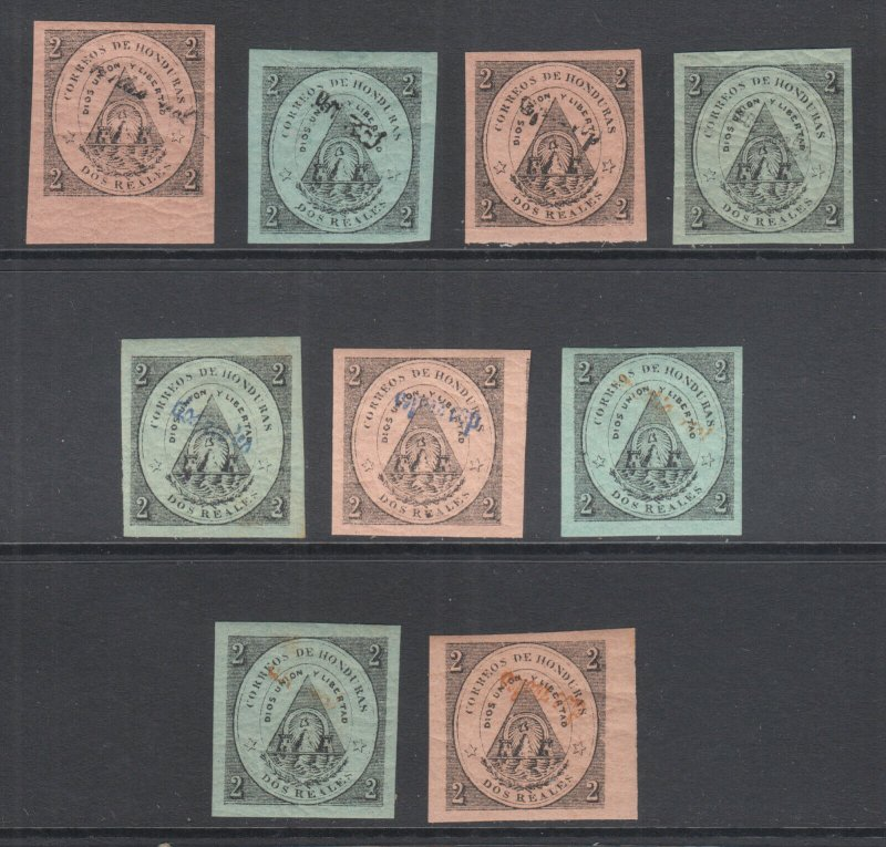 Honduras Sc old 12/28 MLH. 1877 Tegucigalpa issue, 9 diff w/ forged overprints