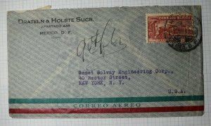 Mexico Airmail Cover to USA 1940 Used Sc# C68 or C76A or C80 or C81