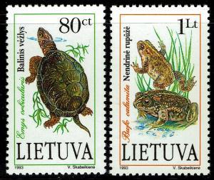 Lithuania #473-474  MNH - Amphibians Frog Turtle (1993)