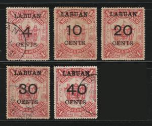 MALAYA North Borneo Labuan Opt 1895 $1 set of 4V used + 1V MH SG#75-79 >CV£120