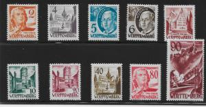 Germany (Wurttemberg) 8N28-37 (without pf) Various set MNH (z3)