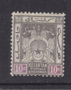 KELANTAN, 1921 Arms, Script CA. 10c. Black & Mauve, lhm.