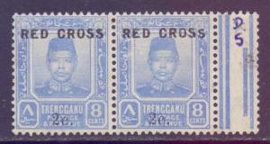 Malaya Trengganu Scott B3 - SG22, 1917 Red Cross 8c Small S Variety MH*