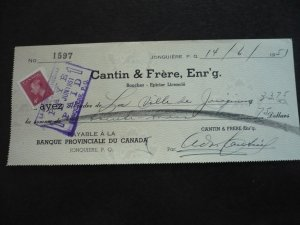 Canada - Revenue - KGVI Stamp on cheque dated 1951