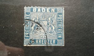Germany-Baden #16 used trimmed e202 6745
