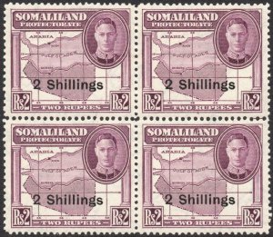 SOMALILAND-1951 2/- on 2r Purple Block of 4 Sg 133 UNMOUNTED MINT V42926