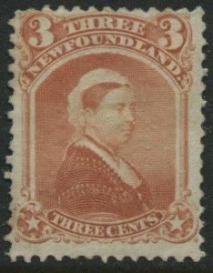 Newfoundland QV 1870 3 cents vermilion unused very little gum