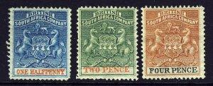 RHODESIA BRITISH SOUTH AFRICA COMPANY 1892 ½d., 2d. & 4d. SG 18, 20 & 22 MINT