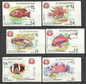 NW0303 IMPERF 1967 YEMEN FISH & MARINE LIFE #(397-402)B MICHEL 12 EURO SET MNH