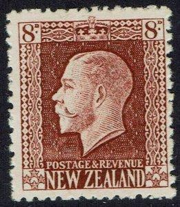NEW ZEALAND 1915 KGV 8D BROWN