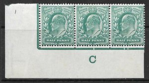 ½d Blue-Green Control C perf type V1 plate 1 with 2 varieties MOUNTED MINT