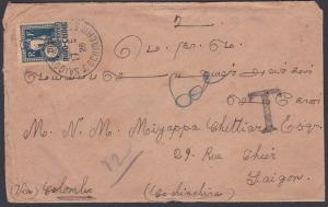 INDOCHINA 1926 cover ex India with 20c POSTAGE DUE pmkd Saigon.............87767