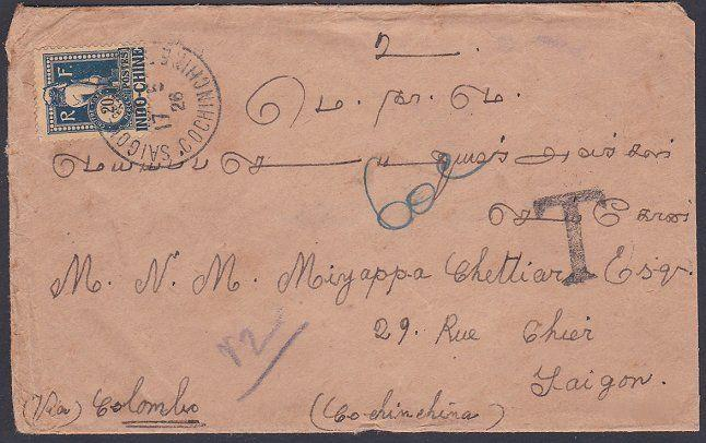 INDOCHINA 1926 cover ex India with 20c POSTAGE DUE pmkd Saigon.............87767