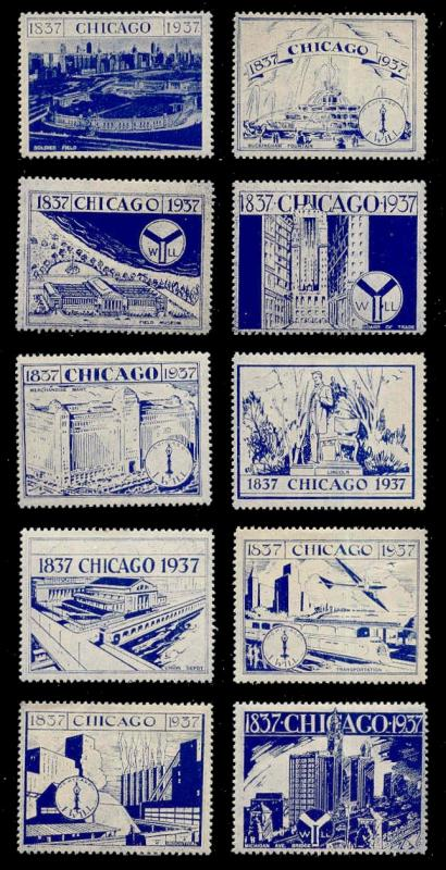 US 1937 Chicago Centenary Poster Stamps