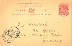 Saint Lucia 1d QV Postal Card 1894 St. Lucia to Cologne, Germany.  Philatelic.