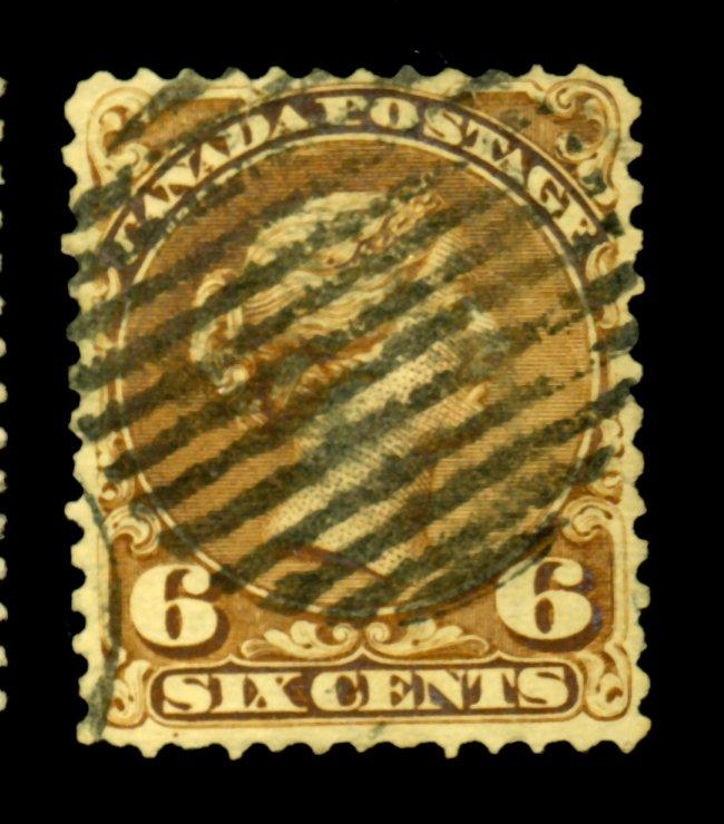Canada #27 Used Fine Small tear Crease Cat$140