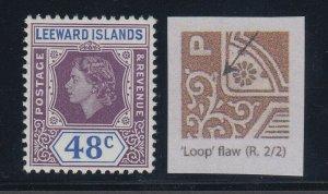 Leeward Islands, SG 136a, MLH Loop Flaw variety
