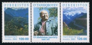 Uzbekistan 319 ab/label,MNH. Artwork of Oral Tansiqboyev,2001.