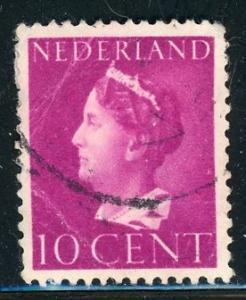 Netherlands #218 Queen Wilhelmina 10c brt red vio 1940 used crease on stamp
