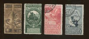 Set of 4 1911 Italy Symbols of Rome Valor Genius & Glory Postage Stamps #119-122