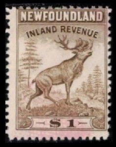 NEWFOUNDLAND 1942 VINTAGE $1. BROWN #NFR40 USED PERF 12 VERY SCARCE REVENUE