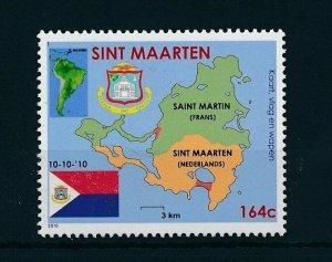 [SM001] St. Martin Maarten 2010 Map, Arms and Flag MNH
