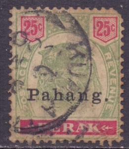 Malaya Pahang Scott 17 - SG20, 1898 Tiger 25c used faults
