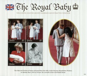 Palau 2019 MNH Prince Archie Royal Baby Harry & Meghan 4v M/S Royalty Stamps