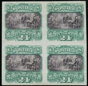 #120P3 PLATE PROOF ON INDIA XF BLOCK OF 4 HW1869